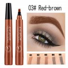 4 Colors 3D Microblading Eyebrow Tattoo Pen 4 Fork Tips Waterproof Fine Sketch Liquid Eyebrow Pencil  03 red brown