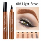 4 Colors 3D Microblading Eyebrow Tattoo Pen 4 Fork Tips Waterproof Fine Sketch Liquid Eyebrow Pencil  01 light brown