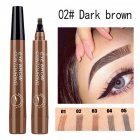 4 Colors 3D Microblading Eyebrow Tattoo Pen 4 Fork Tips Waterproof Fine Sketch Liquid Eyebrow Pencil  02 dark brown
