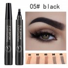 4 Colors 3D Microblading Eyebrow Tattoo Pen 4 Fork Tips Waterproof Fine Sketch Liquid Eyebrow Pencil  05 natural black
