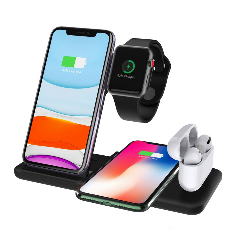 4-In-1 QI Fast Wireless Charger Dock For iPhone Apple Watch iWatch for Airpods Charger Holder Stand black