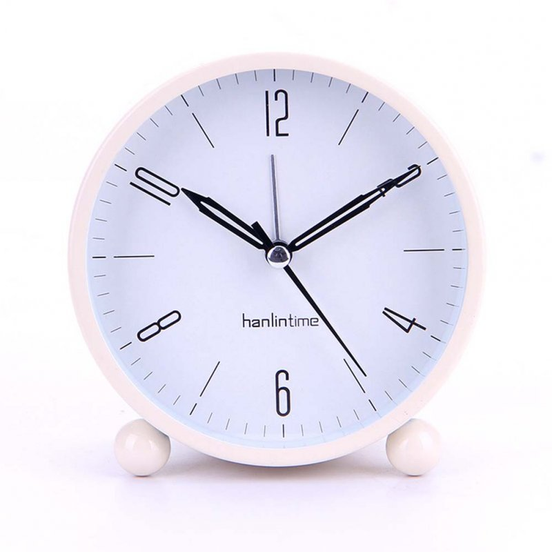 4 Inches Round Metal Desk Clock Simple Fashion Student Silent Alarm clock with Night Light Large beige