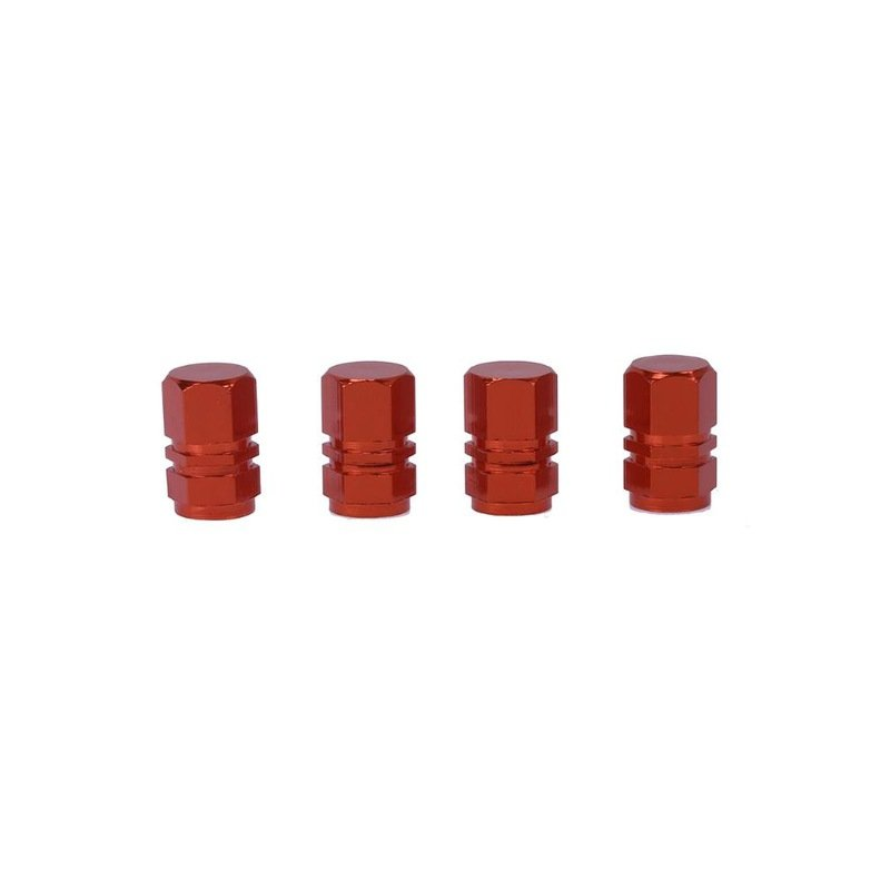 4 Pcs Colorful Aluminum Alloy Tire Valve Cap Automobiles Hexagon Wheel Tyre Valve Caps Auto Decorative Accessories  red