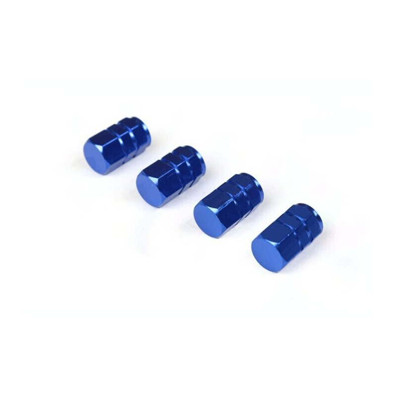 4 Pcs Colorful Aluminum Alloy Tire Valve Cap Automobiles Hexagon Wheel Tyre Valve Caps Auto Decorative Accessories  blue