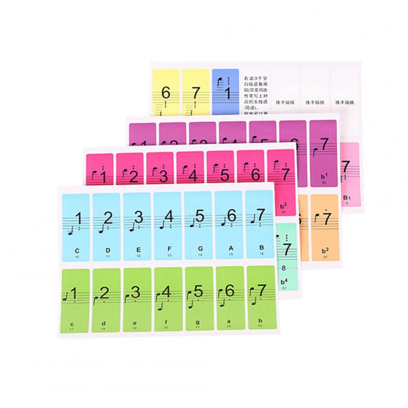 4 Pcs Piano Keyboard Sound Name Stickers Electronic Keyboard Stickers Music Decal Label Note Color English version