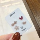 4 Pcs/set Fashion Simple Bowknot Crown Heart-shaped Flower Ear Studs Set