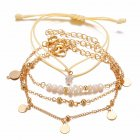 4 Pcs/set Women's  Bracelet Pearl Round-bead Retro Simple Style Bracelet Golden