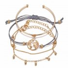 4 Pcs/set Women's  Bracelet Map-shape Retro Simple Style Alloy Bracelet Golden