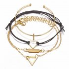 4 Pcs/set Women's  Bracelet Heart-shaped Geometric Retro Simple Style Alloy Bracelet  Golden