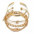 4 Pcs/set Women's Bracelet Simple Style Chain Ring-shape Bracelet Golden