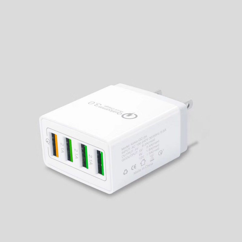 4 Port Fast Quick Charge QC 3.0 USB Hub Wall Charger Power Adapter  white_US plug