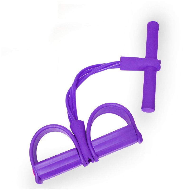 4 Tube Tension Trainer Sports Foot Expander Weight Loss Fitness Equipment Chest Pull Leg Latex Draw Rope Gymnastics Rope purple_Four tubes