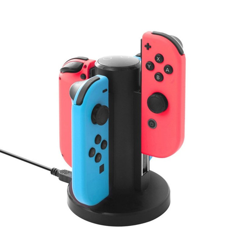 4 in 1 Charging Dock Storage Station Joy-Con Controllers Handheld Game Console USB Charging Stand for Nintend Switch  black
