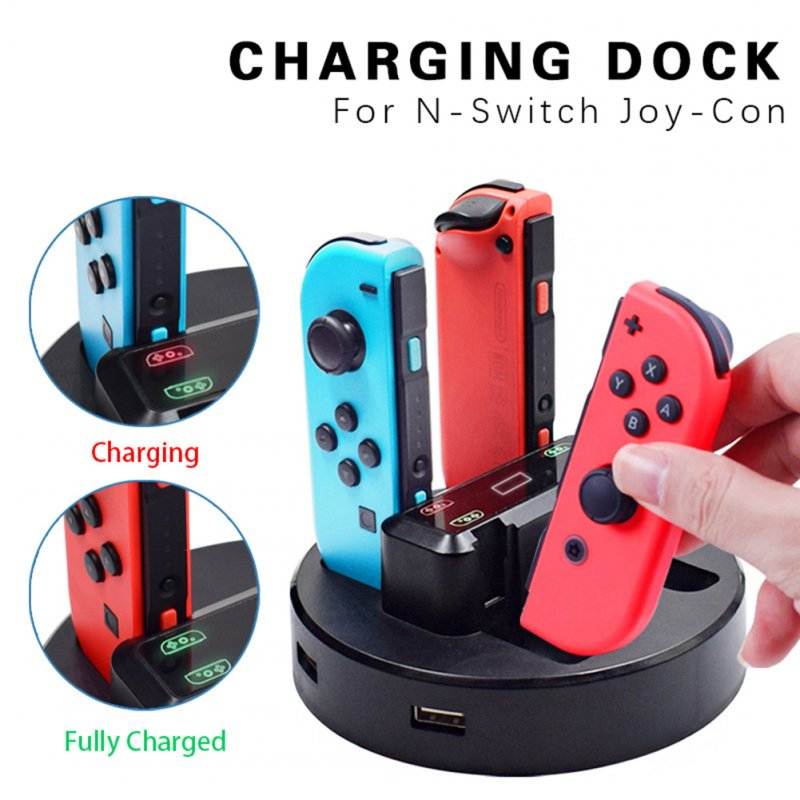 4 in 1 Charging Dock for Nintend Switch Controller LED Charger Gamepad Charge Stand  black