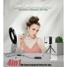 4 in 1 Desktop Cosmetic Live Lamp 9 Inch LED Ring Light Dimmable Lighting for Makeup  9 inches