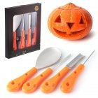 4 pcs/set Halloween Pumpkin Carving Kit Heavy Duty Stainless Steel Carving Tools Set for Halloween Decoration 4pcs