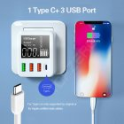4-port USB Charger Type C Quick Charge Led Display QC3.0 Portable Charger for Moblie Phone Tablet EU Plug