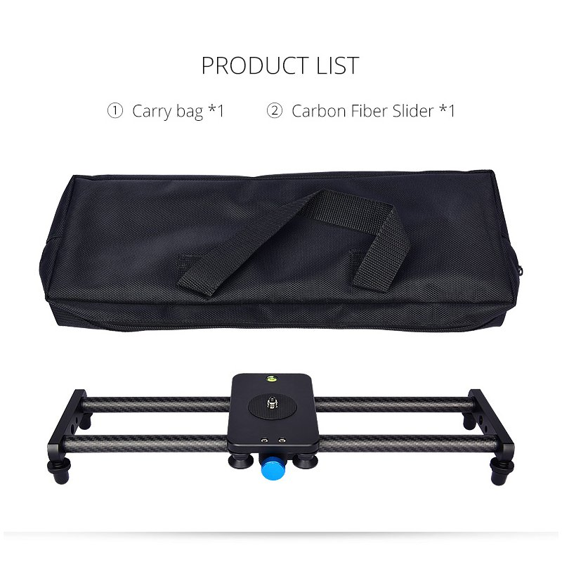 40CM Portable Camera Recorder Silent Carbon Fiber Slide Track Slider Dolly with 4 Roller Bearing Video Movie Photography black