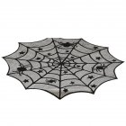 40Inches Black Spider Web Pattern Round Table Cover for Halloween Decoration black_40in diameter