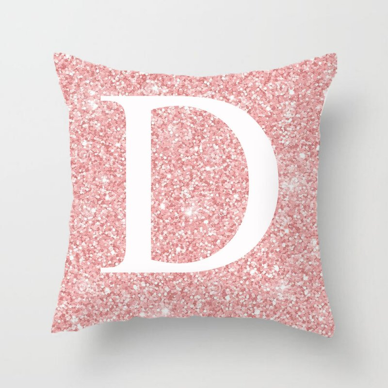45x45cm Pink Metal Letter Peach Skin Pillowcases Decorative Cushion Cover Home Decoration 4_45*45cm