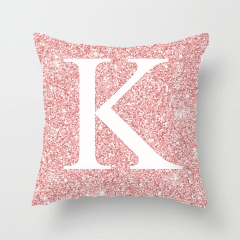 45x45cm Pink Metal Letter Peach Skin Pillowcases Decorative Cushion Cover Home Decoration 11_45*45cm