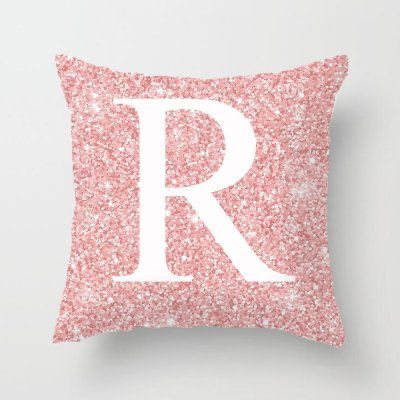 45x45cm Pink Metal Letter Peach Skin Pillowcases Decorative Cushion Cover Home Decoration 18_45*45cm