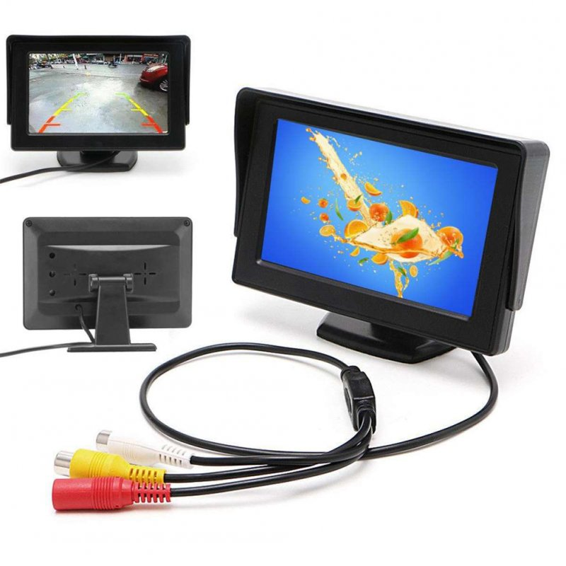 480*272 HD Car Monitor Display for Car Rearview Parking black