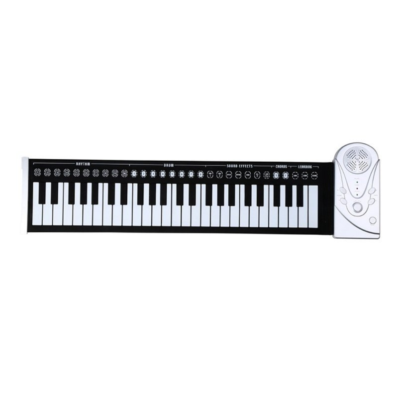 49 Key Speaker Hand Roll Electronic Piano Portable Folding Electronic Soft Keyboard Roll Up Piano Silver