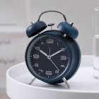 4Inches Metal Double Bell Alarm Clock with Night Light for Bedside Dark blue