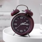 4Inches Metal Double Bell Alarm Clock with Night Light for Bedside wine red