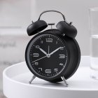 4Inches Metal Double Bell Alarm Clock with Night Light for Bedside black