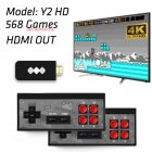 4K HDMI Video Game Console Mini Retro Console Wireless Controller HDMI Output Dual Players black