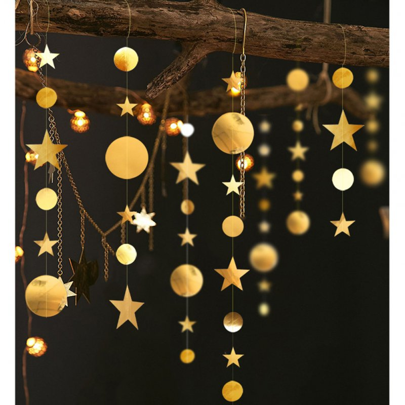 4M Circle Star Shape Garland Party Decor for Showcase Classroom Wedding Gold