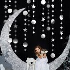4M Circle Star Shape Garland Party Decor for Showcase Classroom Wedding Silver
