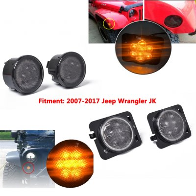 4PCS Amber Front LED Turn Signal Light+Side Light Combo Lens for 2007-2017 Jeep Wrangler JK Lamp As shown