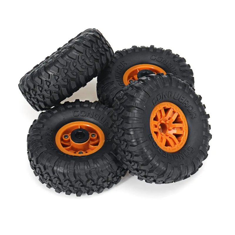 4PCS RC Car Tires Wheels Rims for HB Toys ZP1001 1/10 RC Vehicles Spare Parts Orange_4PCS