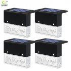 4PCS RGB+Warm White Solar Lamp Path Stair Step Outdoor Waterproof LED Garden Landscape Light Black (4pcs white boxes)