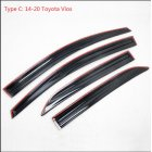 4PCS  Sun Rain Visor Window Shield Deflector For Toyota Vios Sedan Models 14 20