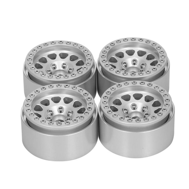 4Pcs 1.9 Inch RC Car Wheel Hub Rims for 1/10 RC Crawler Axial SCX10 SCX10 II 90046 TRX4 D90 Silver