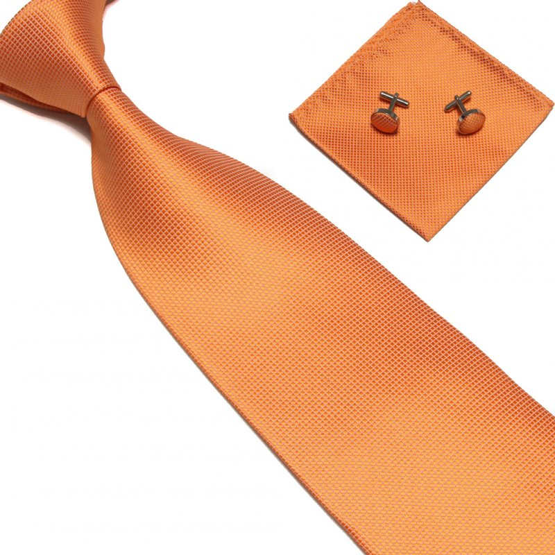 4Pcs Men Silk Necktie Tie Pocket Square Cufflinks Set Valentine's Day Gift 4 # orange