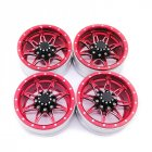 4Pcs RC Rock Crawler Metal Rims 1.9 Inches Beadlock for 1/10 Axial SCX10 90046 TAMIYA CC01 D90 D110 TF2 red