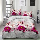 4Pcs/Set 3D Printed Stylish Bed Set Bed Sheet Quilt Cover Pillowcases Wedding Housewarming Decoration