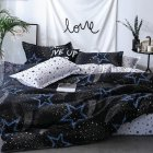 4Pcs/Set Fashion Skin Friendly Bed Sheet Duvet Cover Pillowcase Set Star