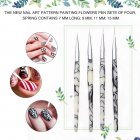 4Pcs/Set Gel Liner Brush Set Marble Handle Flowers Fine Details Drawing Painting Nail Art Acrylic Pencil 4 pieces
