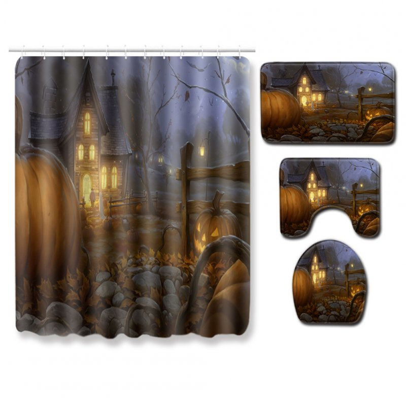 4Pcs/Set Halloween Series Toilet Cover Mat Non Slip Rug Bathroom Shower Curtain Set PJ19822-A031_180*180 shower curtain +45*75 three-piece floor mat set