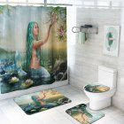 4Pcs Set Mermaid Print Shower Curtain with Non Slip Rugs Toilet Lid Cover Bath Mat 2  As shown