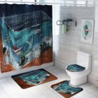 4Pcs/Set Mermaid Print Shower Curtain with Non-Slip Rugs Toilet Lid Cover Bath Mat 1#_As shown