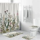 4Pcs/Set Shower Curtain 180*180cm Non-Slip Rug Toilet Lid Cover Bath Mat for Bathroom yul-2131