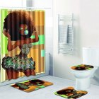 4Pcs Set Stylish African Women Series Pattern Bath Set Shower Curtain Non Slip Toilet Pad Cover Bath Mat Four piece set
