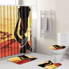 4Pcs Set Stylish African Women Series Pattern Bath Set Shower Curtain Non Slip Toilet Pad Cover Bath Mat1OCG